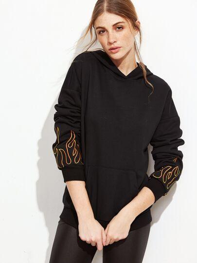 Sweat-shirt imprimé flamme avec capuche et poche - noir