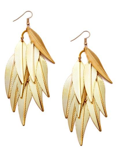Gold Plated Leaf Tassel Drop Earrings