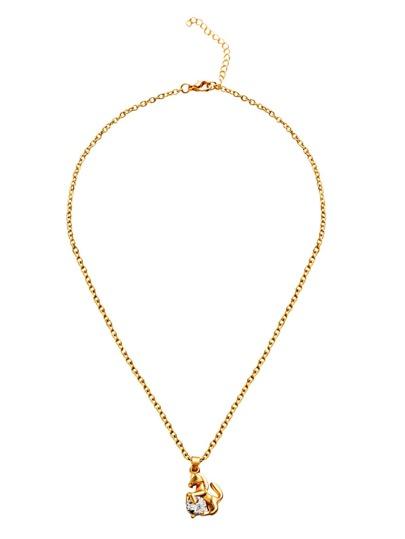 Gold Plated Rhinestone Pony Pendant Necklace