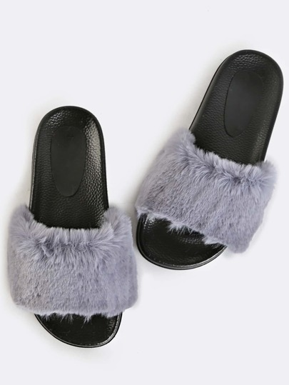 Contrast Fur  Slide Sandals GREY