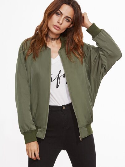 Olive Green Letter Patch Back Raglan Sleeve Bomber Jacket