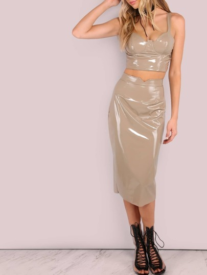 Patent Bodycon Skirt TAUPE