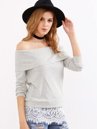 Grey Ribbed Knit Foldover Off The Shoulder Lace Trim Sweatshirt