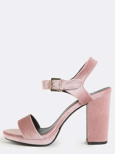 Smooth Velvet Chunky Heels BLUSH