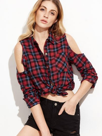Red Open Shoulder Tartan Plaid Blouse