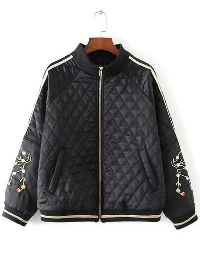 Black Embroidery Raglan Sleeve Zipper Quilted Jacket