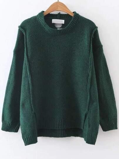 Pull tricoté à nervures col rond - vert foncé