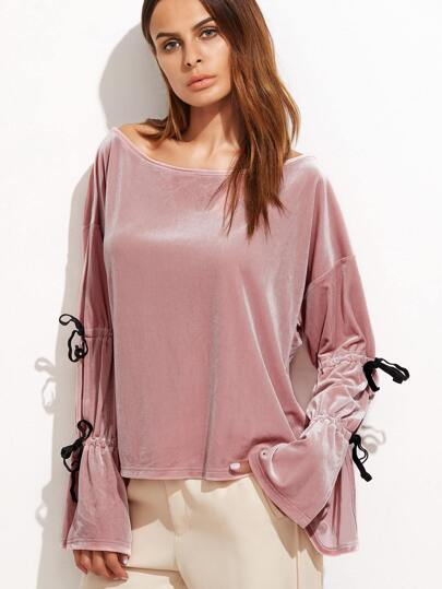 Pink Boat Neck Bell Sleeve Tie Detail Top