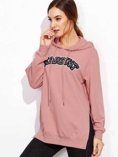 Pink Letter Patch Front Side Slit Hoodie