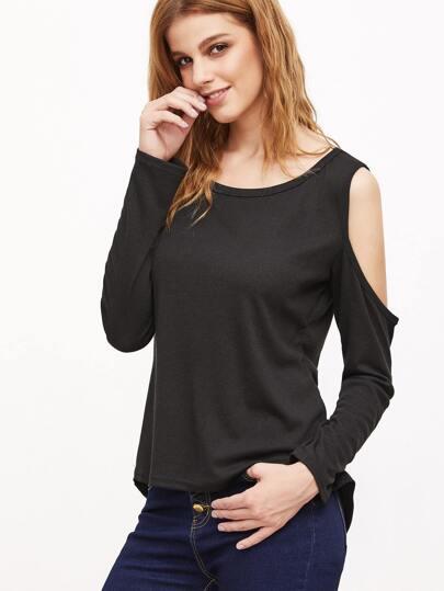 Black Open Shoulder High Low T-shirt