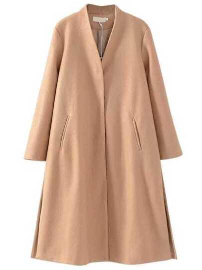 Camel Drawstring Waist Side Slit Long Coat