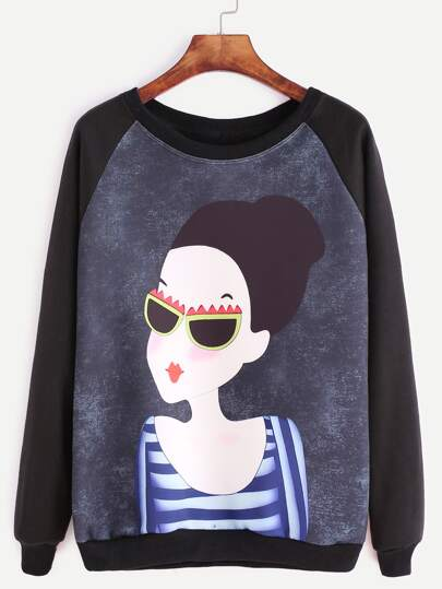 Black Raglan Sleeve Girl Print Sweatshirt