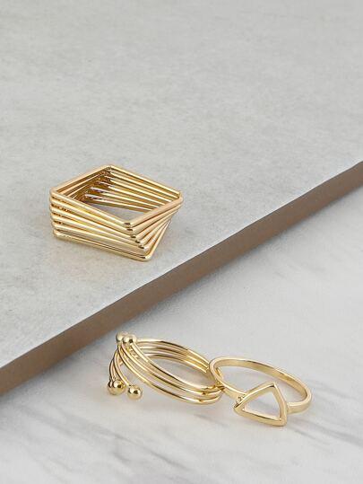 Geometric Metallic Ring Set GOLD