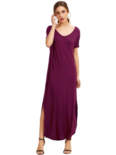 Purple Short Sleeve Pocket Split Side Dress