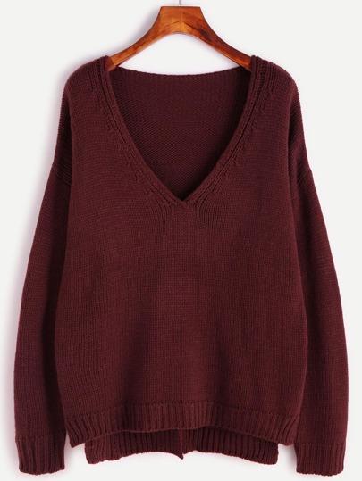 Burgundy Drop Shoulder Slit High Low Sweater