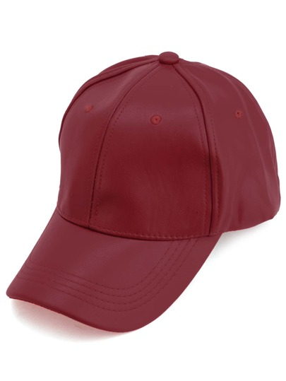 Red Faux Leather Hip Hop Baseball Cap
