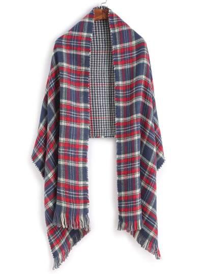 Модный клетчатый шарф-накидка с бахромой
