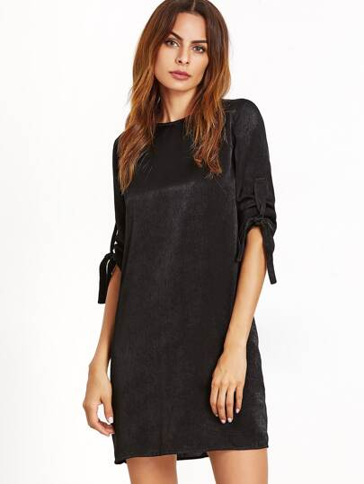 Black Knotted Roll Sleeve Tunic Dress