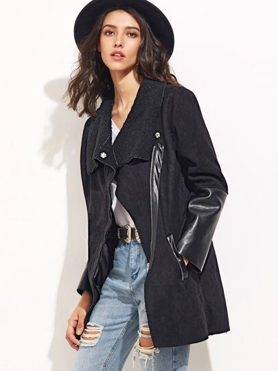 Black Suede Mixed Media Asymmetric Zip Coat