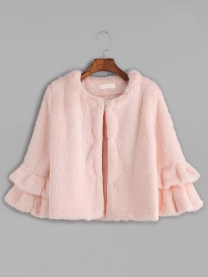Pink Tiered Ruffle Sleeve Faux Fur Coat