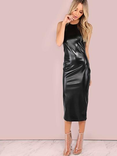 Faux Leather High Neck Bodycon Midi Dress BLACK