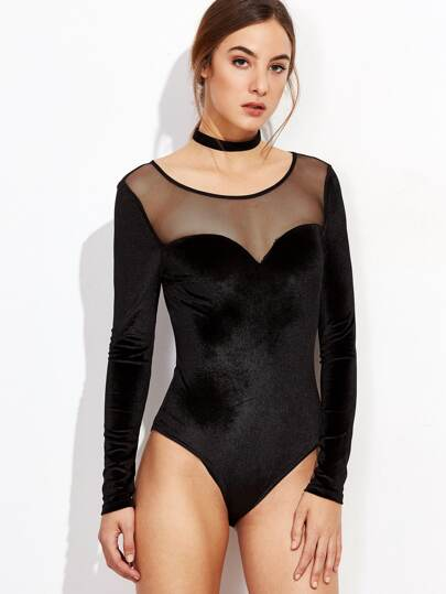 Black Illusion Neckline Velvet Bodysuit