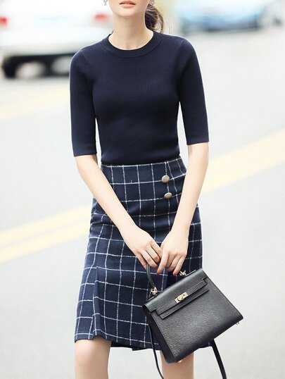Navy Knit Top With Check Print Skirt