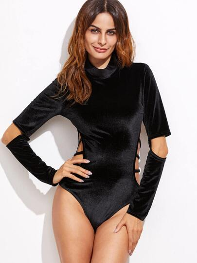 Cowl Neck Strappy Cutout Velvet Bodysuit