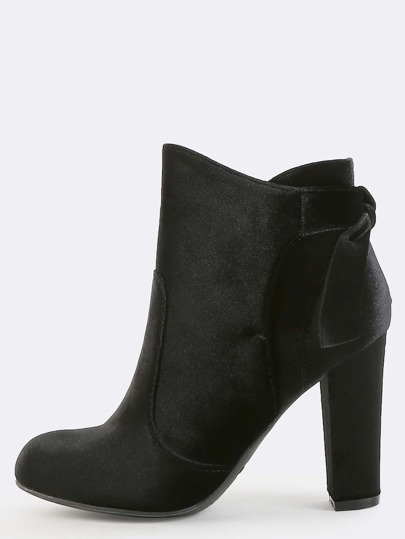 Smooth Velvet Bow Booties BLACK