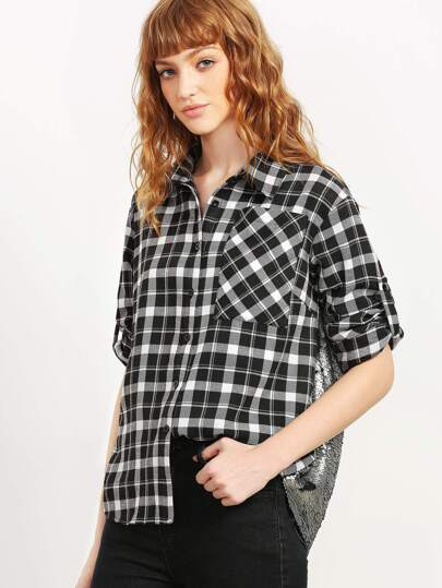 Black And White Checkered Paillette Shirt