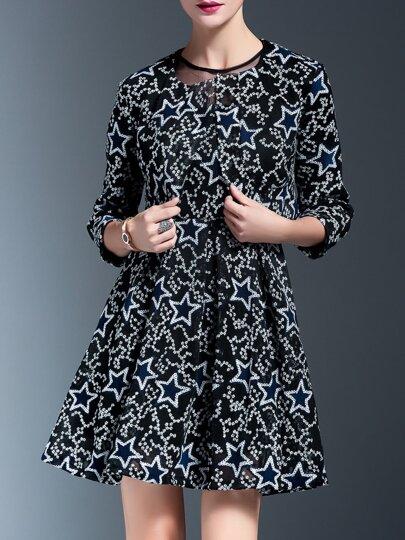 Vestido con bordado de estrella de 2 piezas - negro