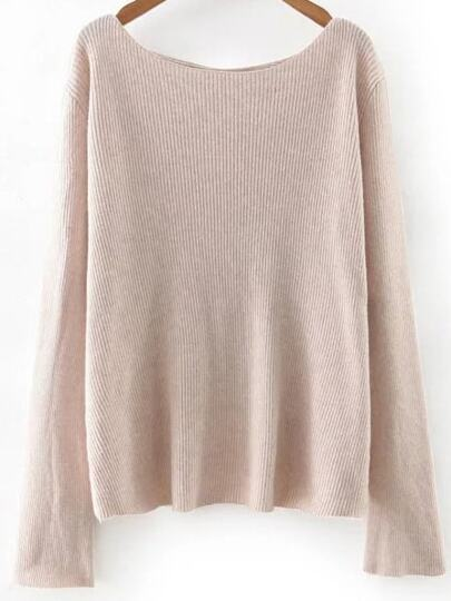 Apricot Boat Neck Cross Back Knitwear