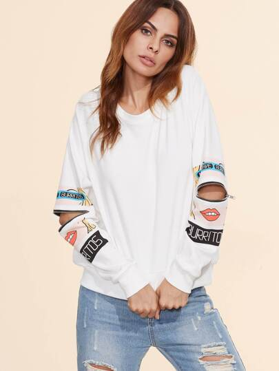 White Cartoon Portrait Print Zip Slit Sleeve Sweatshirt