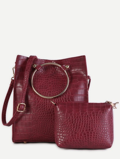 Burgundy Crocodile Embossed PU Metal Ring Shoulder Bag Set
