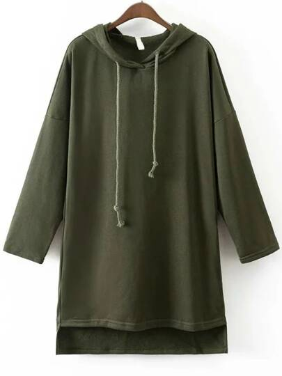 Army Green Hooded Oversized High Low Sweatshirt
