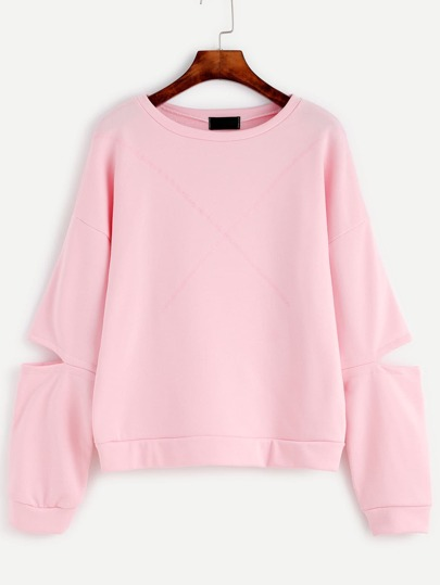 Sweatshirt Drop Schulter Cut-Outs Ärmel-rosa