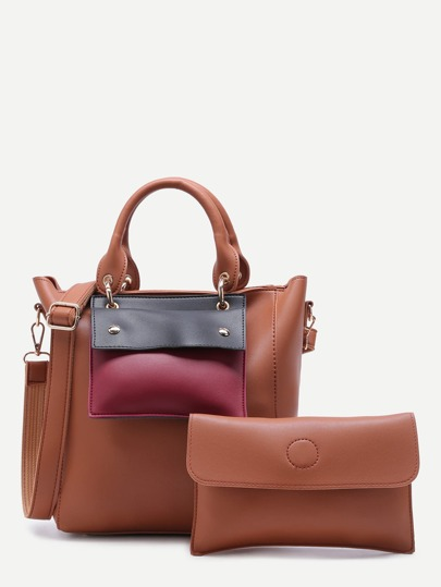 Brown Faux Leather Front Pocket Shoulder Bag Set