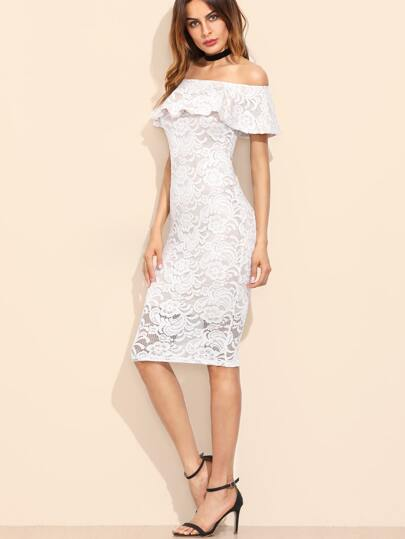 White Floral Lace Overlay Off The Shoulder Ruffle Dress
