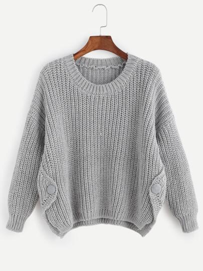 Grey Drop Shoulder Slit Side Chunky Knit Sweater