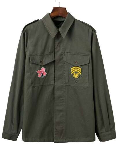 Army Green Embroidery Epaulet Coat With Pocket