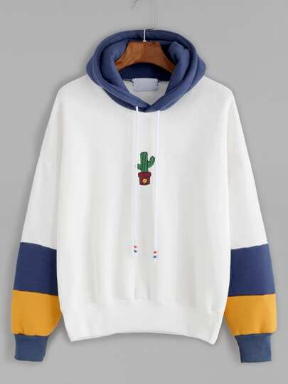 White Contrast Cactus Embroidery Drawstring Hooded Sweatshirt