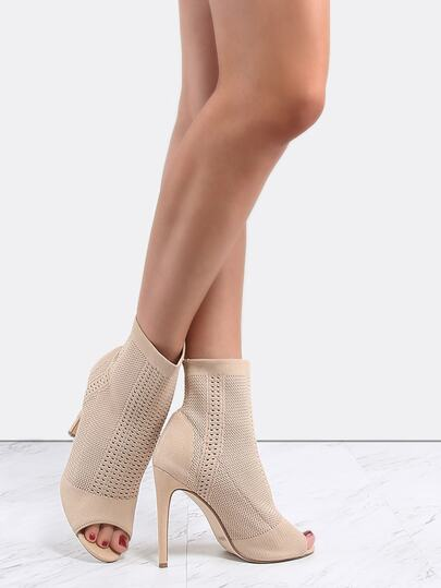 Peep Toe Suede Knit Boots NUDE