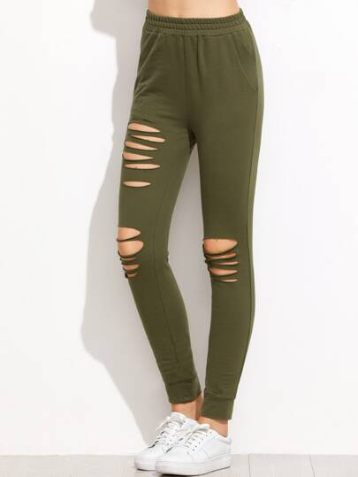 Olive Green Ripped Skinny Sweatpants