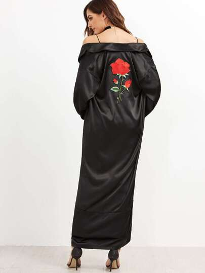 Black Embroidered Back Wrap Coat