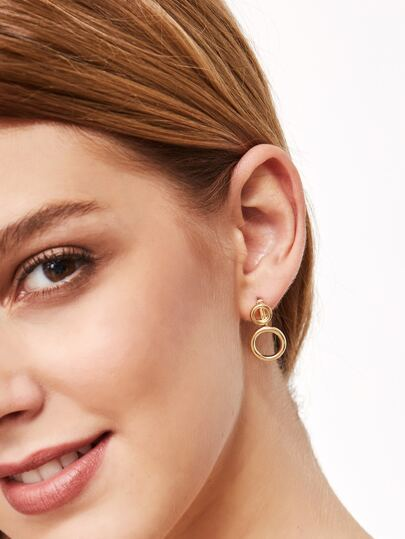 Gold Plated Hollow Circle Stud Earrings