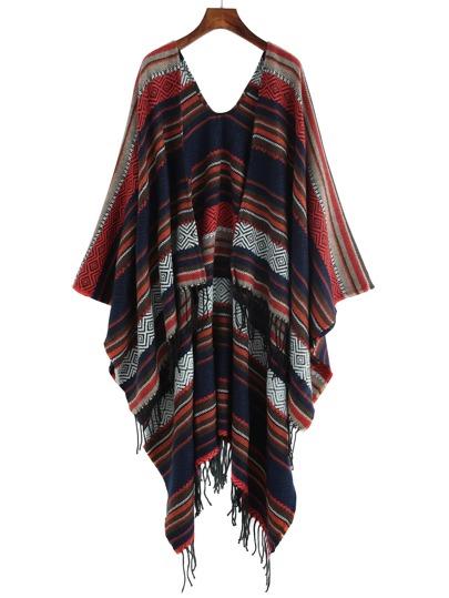 Многоцветный полосатый шарф шалью с этническим принтом