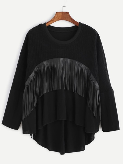 Contrast Hem Fringe Trim High Low T-shirt