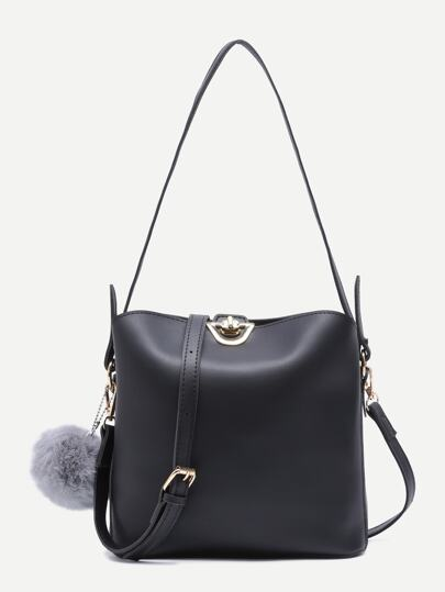 Faux Fur Pom Pom Shoulder Bag With Convertible Strap