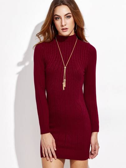 Burgundy Mock Neck Cable Knit Dress