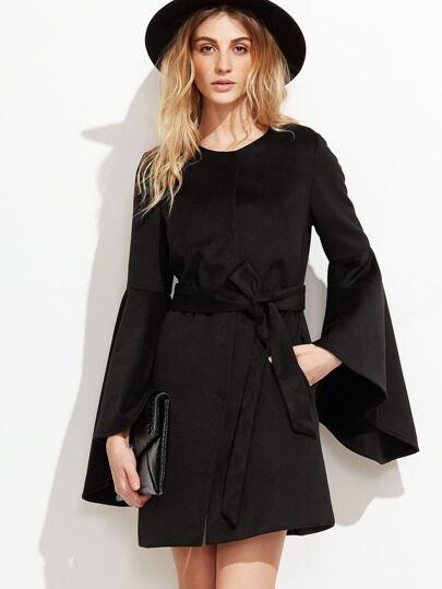 Black Belted Hidden Button Bell Sleeve Coat